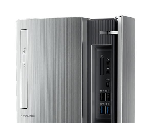 Lenovo Ideacentre 720 (Intel) Tower, front detail of optical drive and ports panel open.