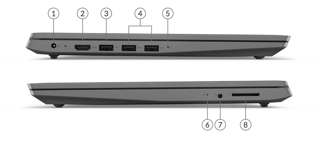 Side views of the ThinkPad X1 Extreme Gen 2 laptop showing ports