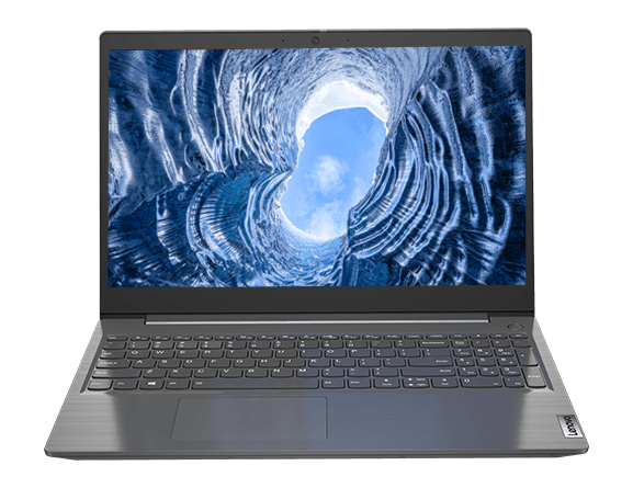 Lenovo V15 laptop – front view, with lid open