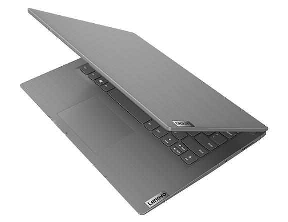 Lenovo V15 laptop – ¾ front left side from top, with lid partially open
