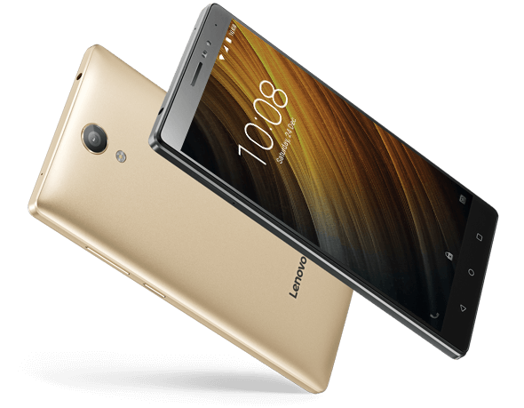 Champagne Gold backside with front view of Lenovo Phab 2 smartphone