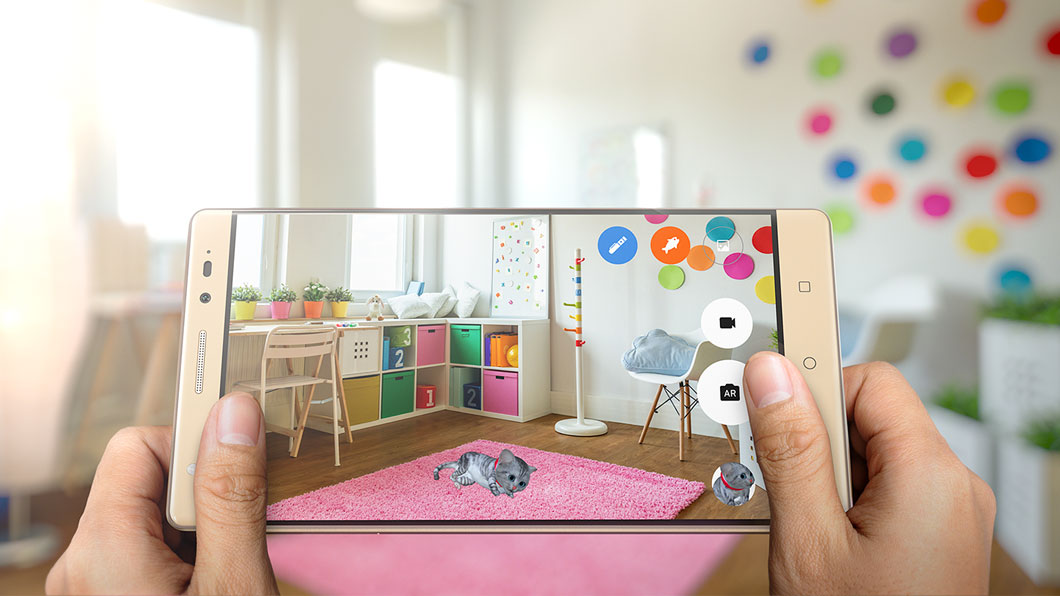 Lenovo Phab 2 Plus showing augmented reality feature, with cat overlay