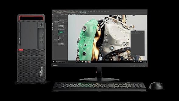 Lenovo ThinkCentre M910 Tower Desktop beside peripherals