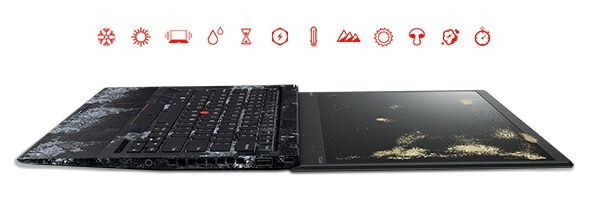 Lenovo ThinkPad X1 Carbon (5th Gen) and Icons Symbolizing Durability Tests
